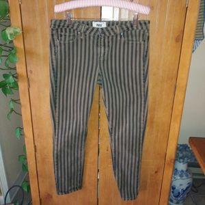 Paige Striped Mid Rise Skyline Ankle Peg Jeans